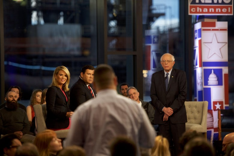 Bernie Sanders fields a question from the audience during a Fox News town hall in Bethlehem, Pennsylvania on April 15, 2019.