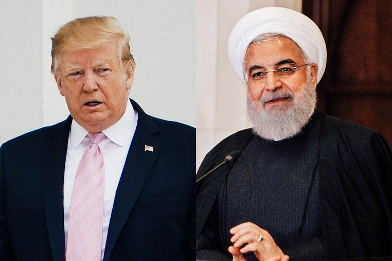 U.S. President Donald Trump and Iranian President Hassan Rouhani.