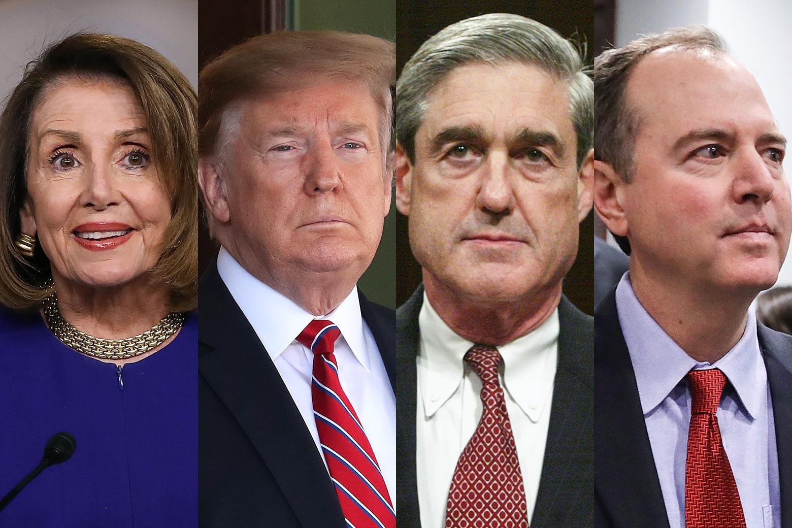 Nancy Pelosi, Donald Trump, Bob Mueller, Adam Schiff