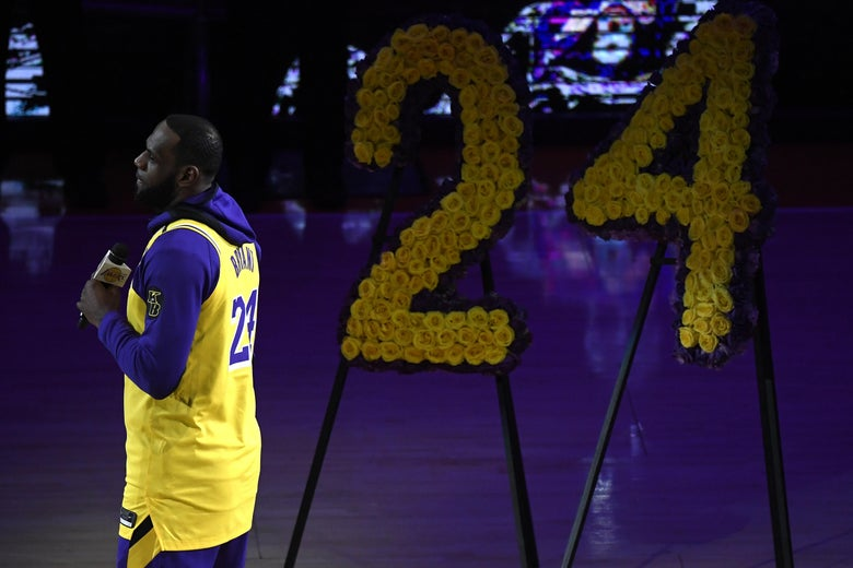 LeBron James speaks during the Los Angeles Lakers' pregame ceremony to honor Kobe Bryant.