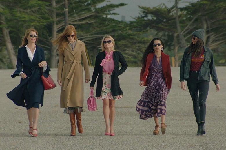 Laura Dern, Nicole Kidman, Reese Witherspoon, Zoë Kravitz, and Shailene Woodley in a still from Big Little Lies.