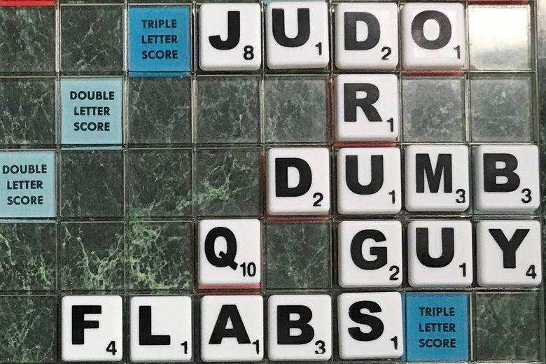 A Scrabble board.