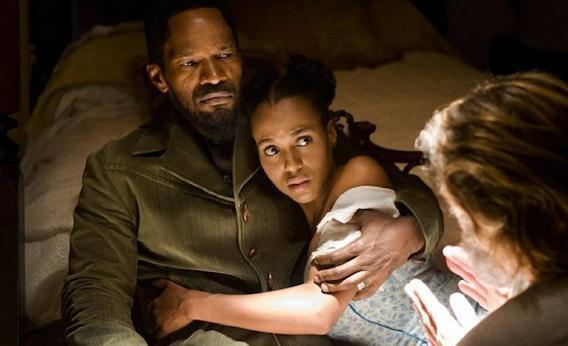 Jamie Foxx and Kerry Washington in Django Unchained.