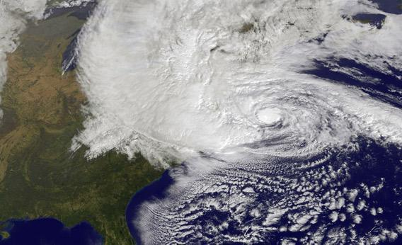 Hurricane Sandy, pictured at 1440 UTC, churns off the east coast on October 29, 2012 in the Atlantic Ocean.
