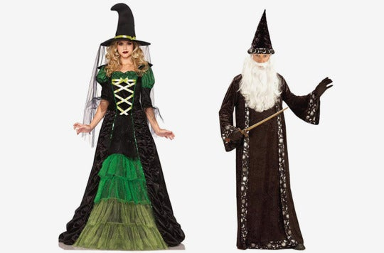 Couple dressed as a witch and wizard.