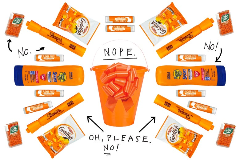f1adce732b91 Photo illustration of various bad gifts for teachers, like an orange sand  pail and Banana