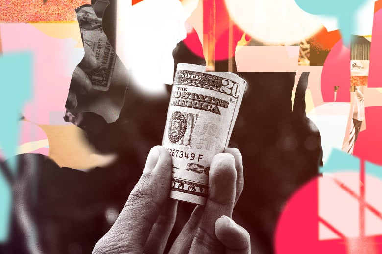 Collage of a person holding a wad of cash.