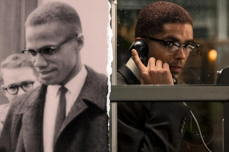 Malcolm X in real life and in the movie.