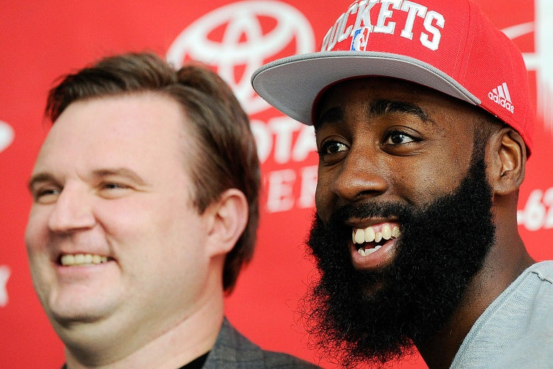 Daryl Morey and James Harden smile for the cameras