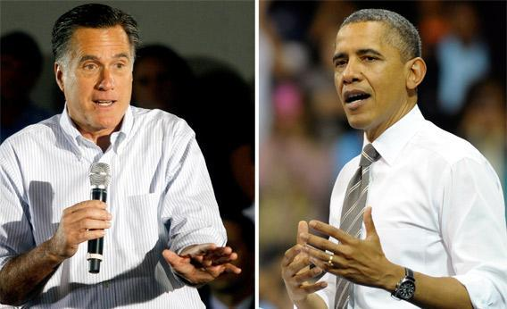 Republican presidential candidate Mitt Romney, left, and U.S. President Barack Obama, right.