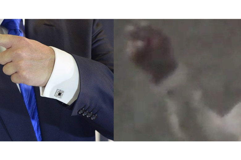 Side-by-side photo illustration of Trump's cufflinks in the Miss Universe 2013 photo and the Trump-like figure from the video.