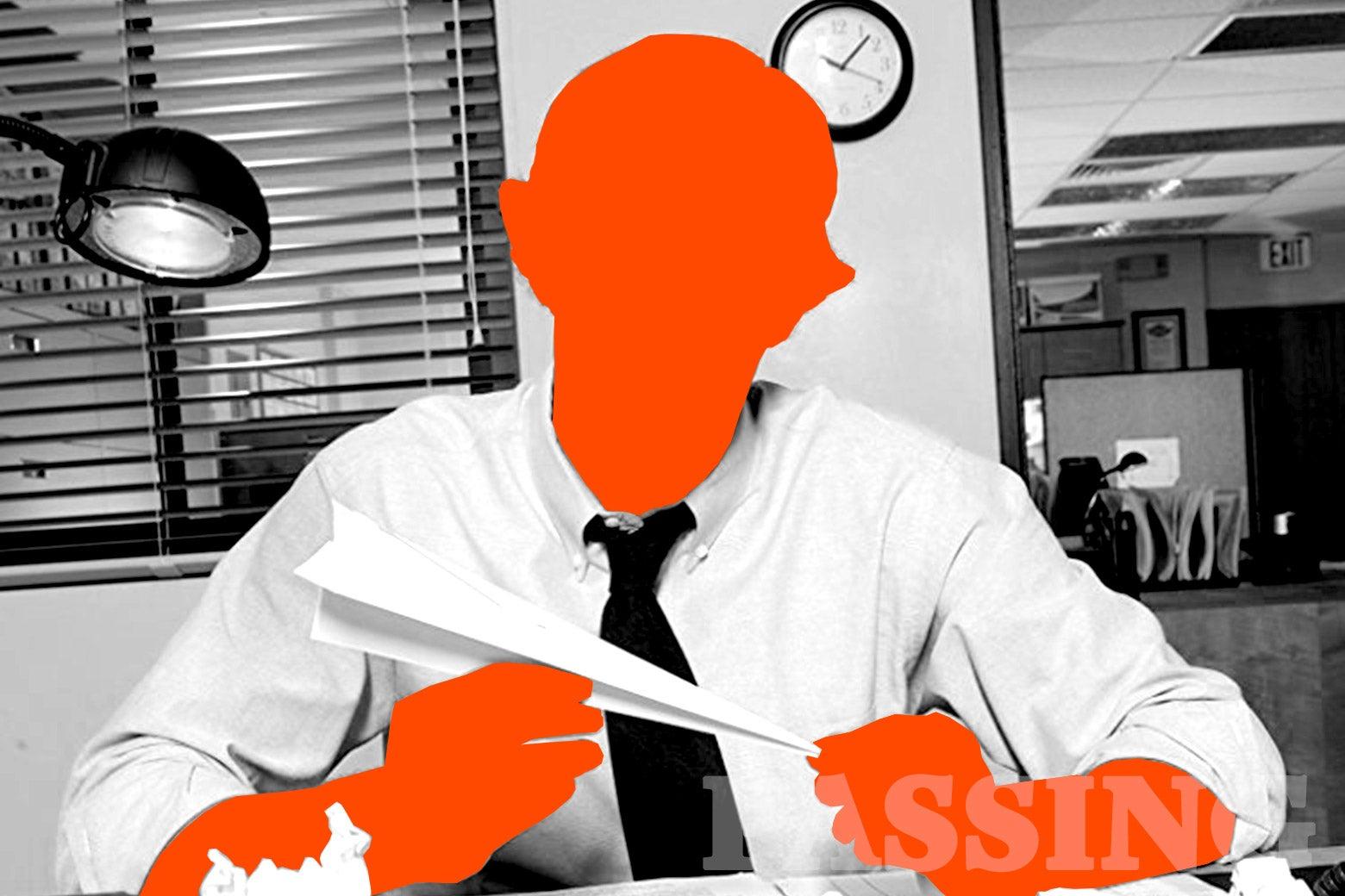 John Krasinski as Jim Halpert in The Office, silhouetted out in orange.