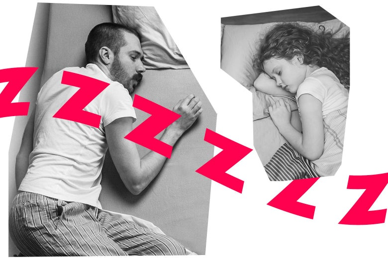 A man sleeping in bed, and a girl sleeping in bed.