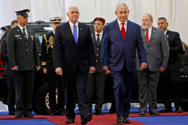 U.S. Vice President Mike Pence (C-L) is welcomed by Israeli Prime Minister Benjamin Netanyahu (C-R) at a ceremony at the Prime Minister's Office in Jerusalem on January 22, 2018.