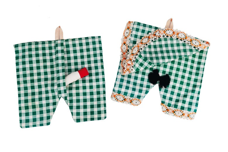 Gingham potholders with attached cloth penises and thatches of pubic hair.