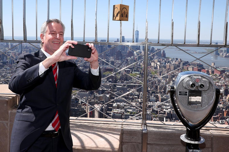 NEW YORK, NEW YORK - MAY 01: Empire State Building Hosts New York City Mayor Bill De Blasio As Part Of A Special 90th Anniversary Lighting on May 01, 2021 in New York City.