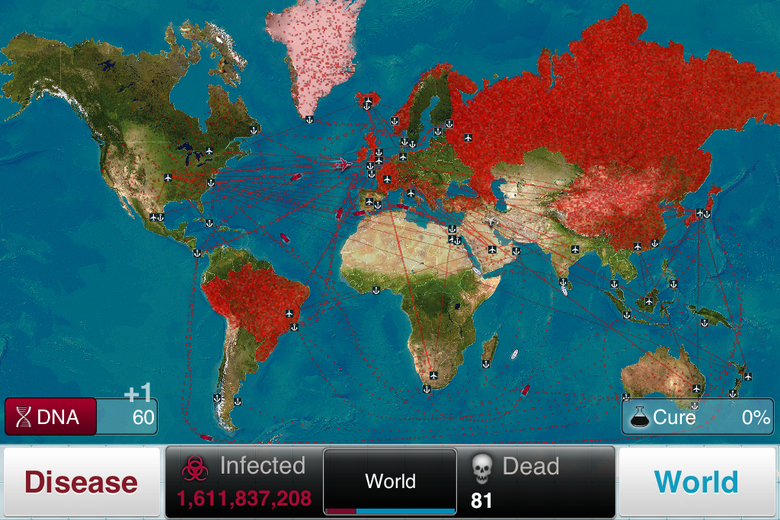 """A map of the world. Russia, China, and parts of Europe and South America are obscured by red dots. At the bottom of the screen, a counter says """"Infected: 1,611,837,208. Dead: 81."""""""