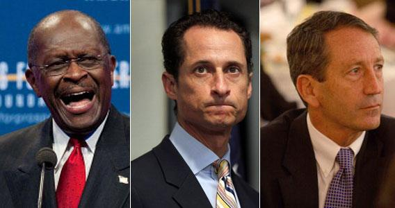US Republican presidential hopeful Herman Cain, Rep. Anthony Weiner, and South Carolina Governor Mark Sanford.