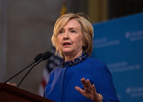 Hillary Clinton speaks during the David N. Dinkins Leadership and Public Policy Forum at Columbia University on April 29, 2015, in New York City.