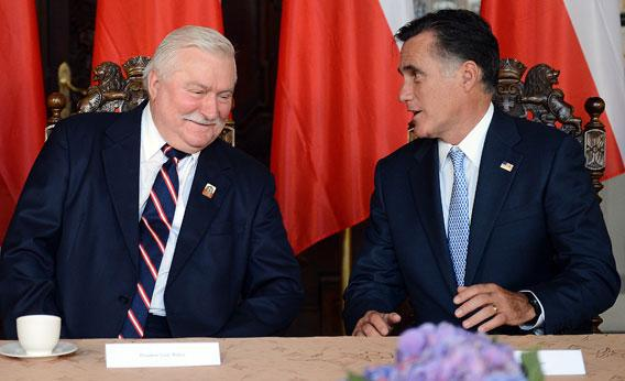 Republican presidential candidate and former Governor of Massachusetts Mitt Romney (R) meets with former Polish President and Nobel Peace Prize winner Lech Walesa, during a meeting at Artus Court, in Gdansk, on 30, 2012.