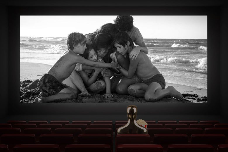 Photo illustration: An Oscar statuette watches Roma, one of the two movies that led Tuesday's Oscar nominations.