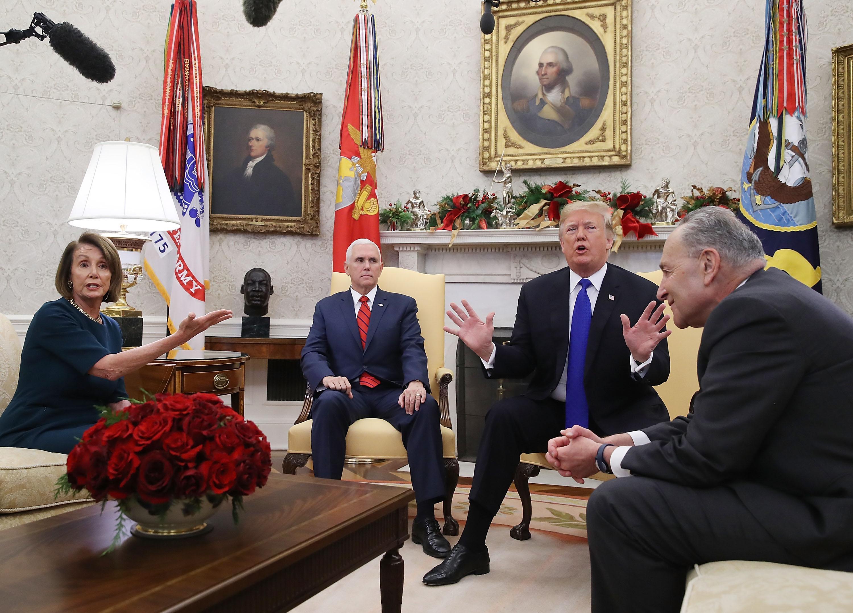 Nancy Pelosi, Donald Trump, and Chuck Schumer enjoy each other's company.