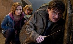"""Emma Watson as Hermione Granger, Rupert Grint as Ron Weasley and Daniel Radcliffe as Harry Potter in """"HARRY POTTER AND THE DEATHLY HALLOWS - PART 2."""" Click image to expand."""