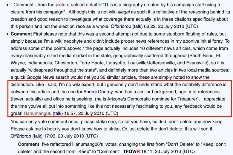A Wikipedia comment in which Hanumang06 argues that Buttigieg and Cherny are equally notable.