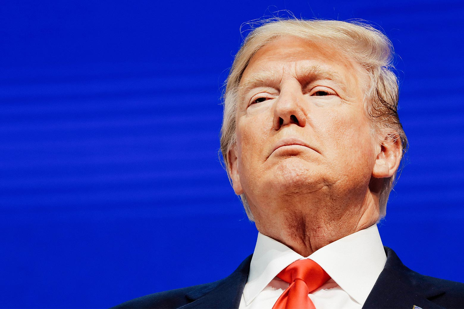 President Donald Trump looks on during the World Economic Forum annual meeting in Davos, Switzerland, on Friday.