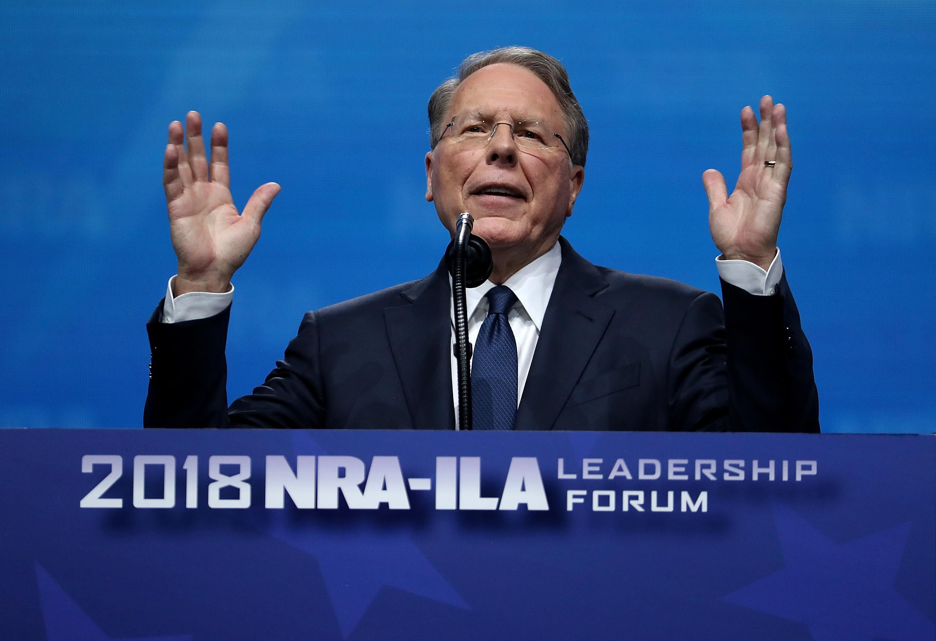 NRA Executive Vice President Wayne LaPierre speaks during the NRA Annual Meeting on May 4, 2018, in Dallas, Texas.