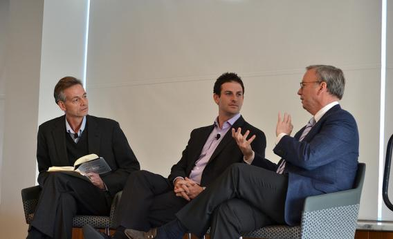 Robert Wright (left) speaks with Jared Cohen (center) and Eric Schmidt (right) about their book The New Digital Age.