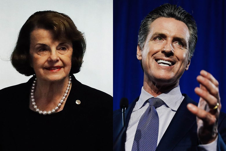 Side-by-side of Dianne Feinstein and Gavin Newsom.