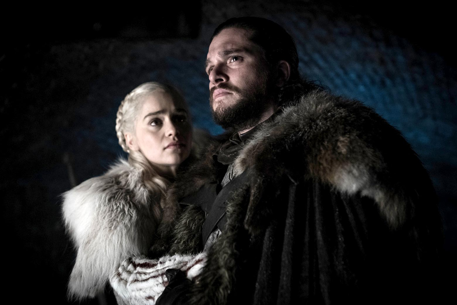 Emilia Clarke as Daenerys Targaryen, Kit Harington as Jon Snow in Game of Thrones Season 8, Episode 2.