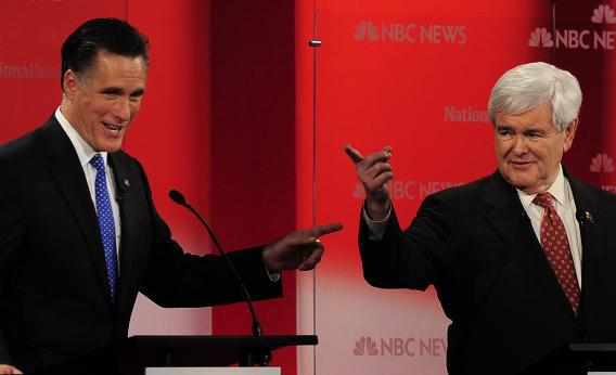 Republican presidential hopefuls Mitt Romney and Newt Gingrich.