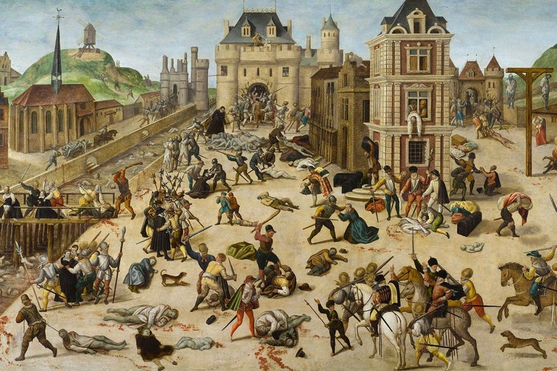 An illustration of murders in the streets on the St. Bartholomew's Day Massacre.