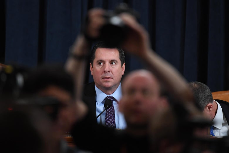 Rep. Devin Nunes looks on during the House Intelligence Committee hearing as part of the impeachment inquiry into President Donald Trump on Capitol Hill in Washington, D.C. on November 21, 2019.