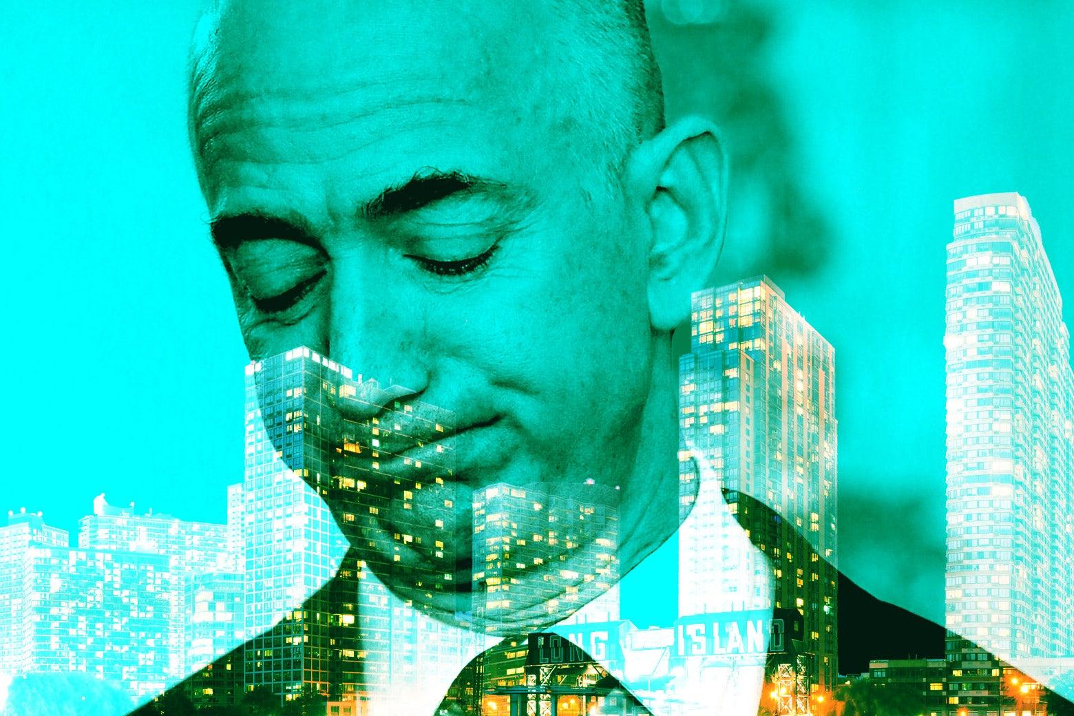 Jeff Bezos over the city skyline