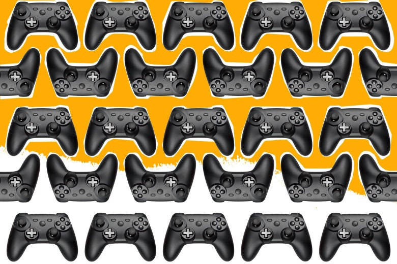 Collage of video game controllers