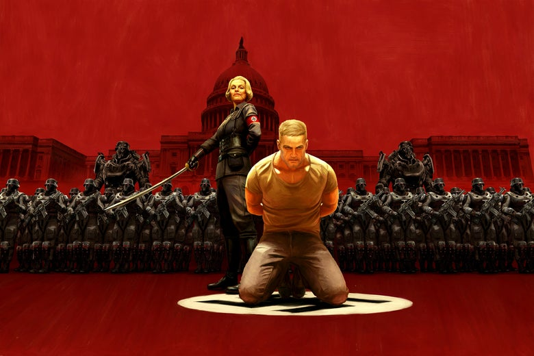 Promotional art from Wolfenstein II: The New Colossus, featuring a Nazi officer holding a sword as a man sits on his knees, bound.
