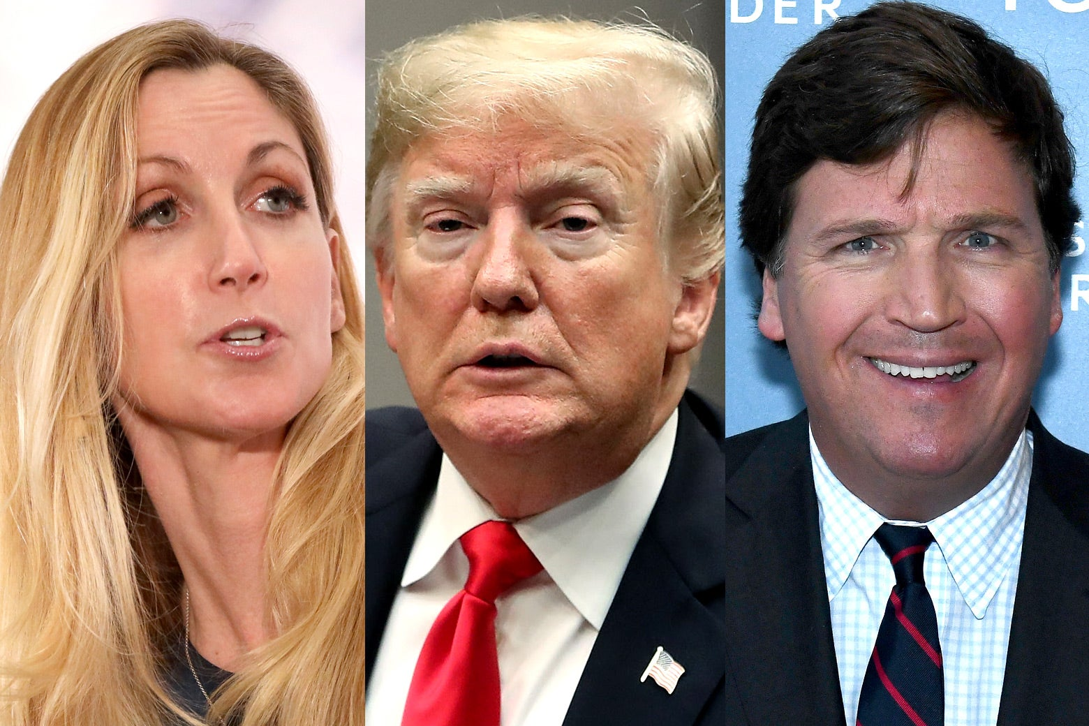 Ann Coulter, Donald Trump, and Tucker Carlson.