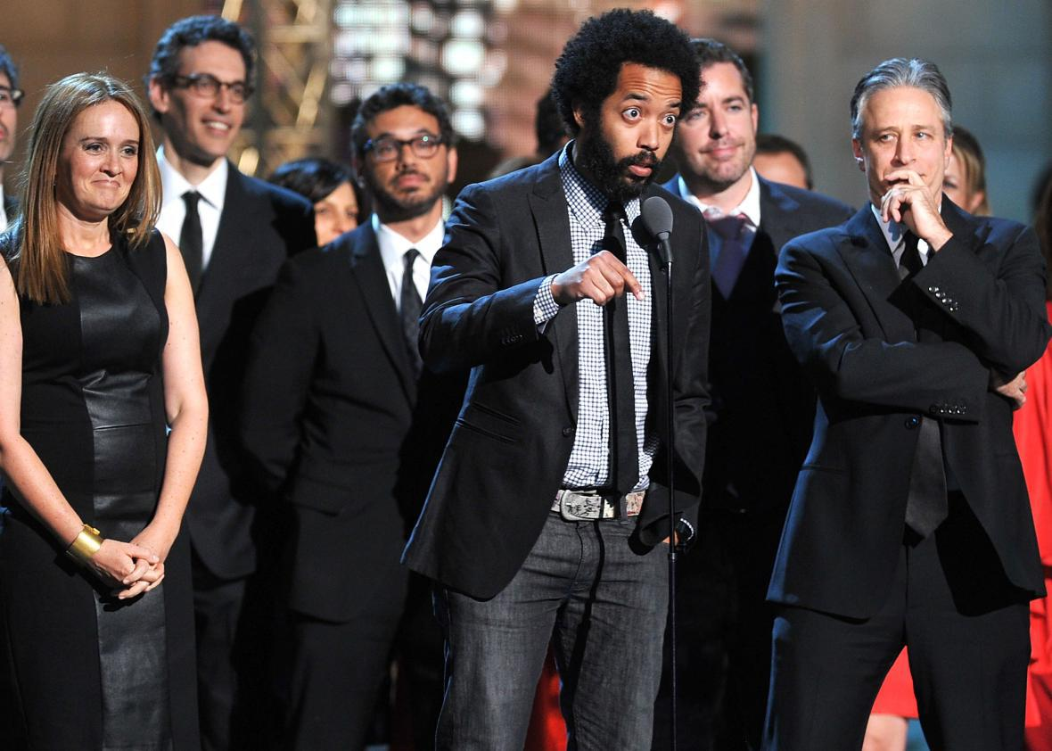 Wyatt Cenac and Jon Stewart at the 2012 Comedy Awards.