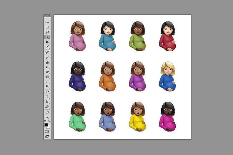 Drake's cover art for Certified Lover Boy depicting twelve pregnant woman emojis about to be manipulated in Photoshop.