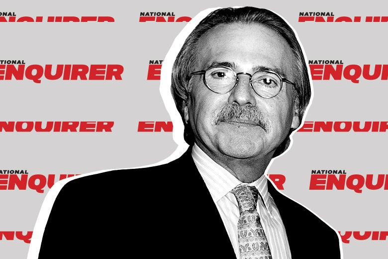 David Pecker in front of a repeating pattern of National Enquirer logos.