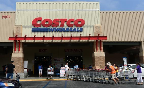 Shopping carts are collected outside a Costco store in Alhambra, Calif., on June 2, 2013.