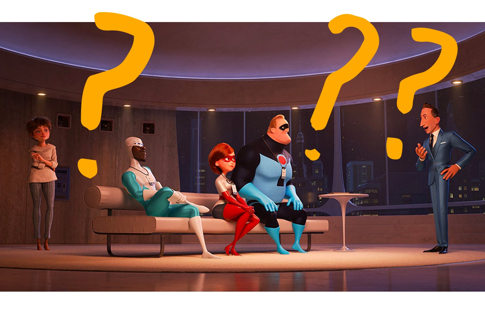 Photo illustration: A still from Incredibles 2 with MS Paint–style question marks overlaid.