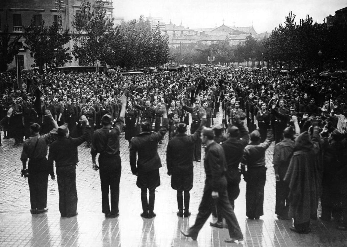 Members of the Spanish Falange in front of the basilica of Nuestra Señora del Pilar in Saragossa on October 12, 1936.
