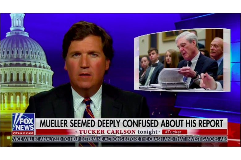 Screenshot of Tucker Carlson talking about Mueller on his show.