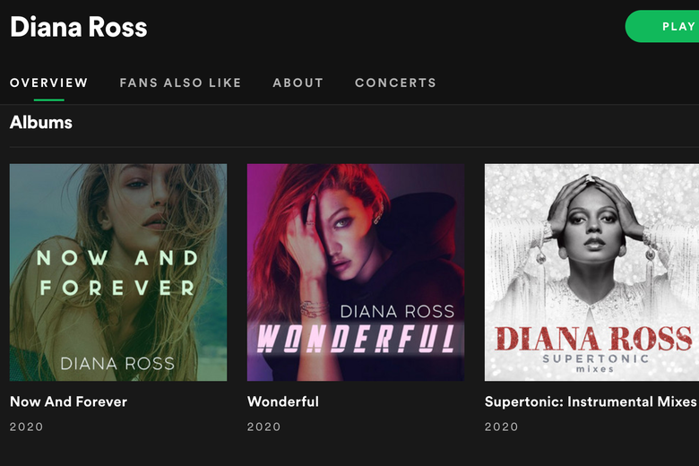 Covers of the albums Now and Forever and Wonderful by a white female artist on Diana Ross' Spotify page