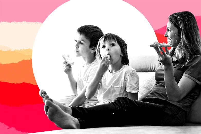 Photo illustration of a mom and two children relaxing with pizza on the couch