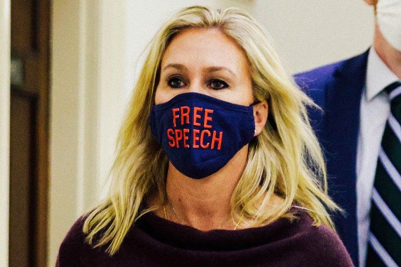 """Marjorie Taylor Greene wears a face mask that reads """"Free Speech."""""""